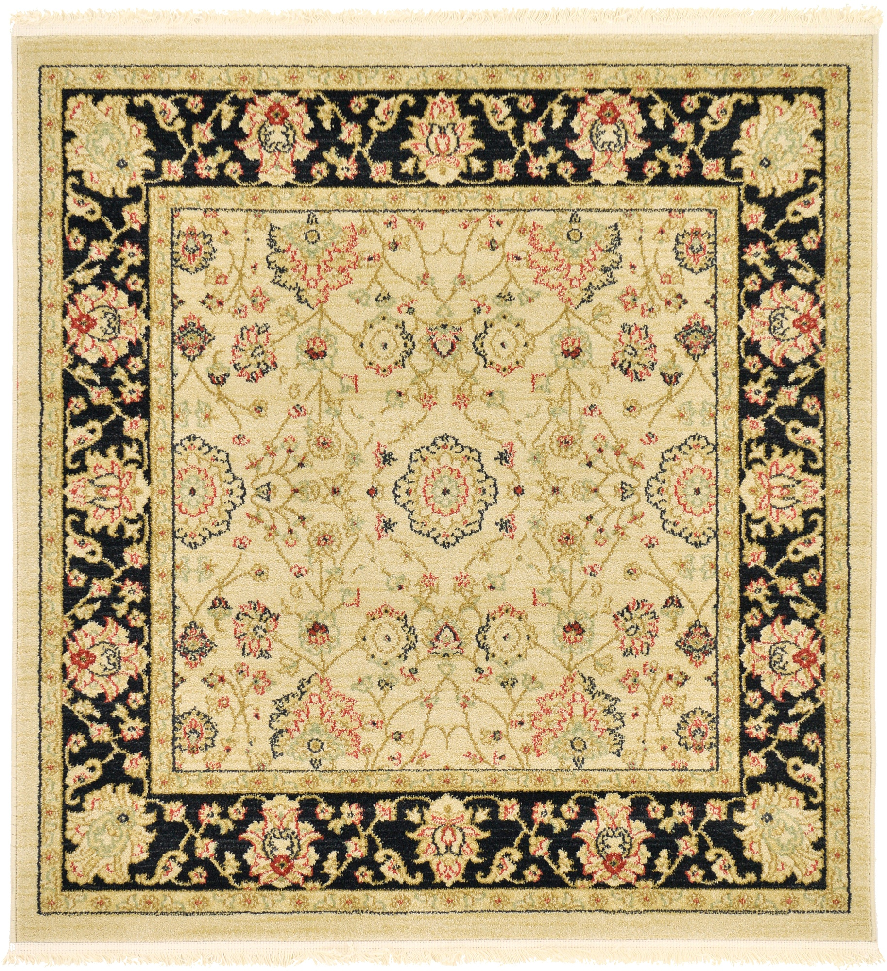 Traditional Oriental Persian Style Rugs Cream 4' X 4